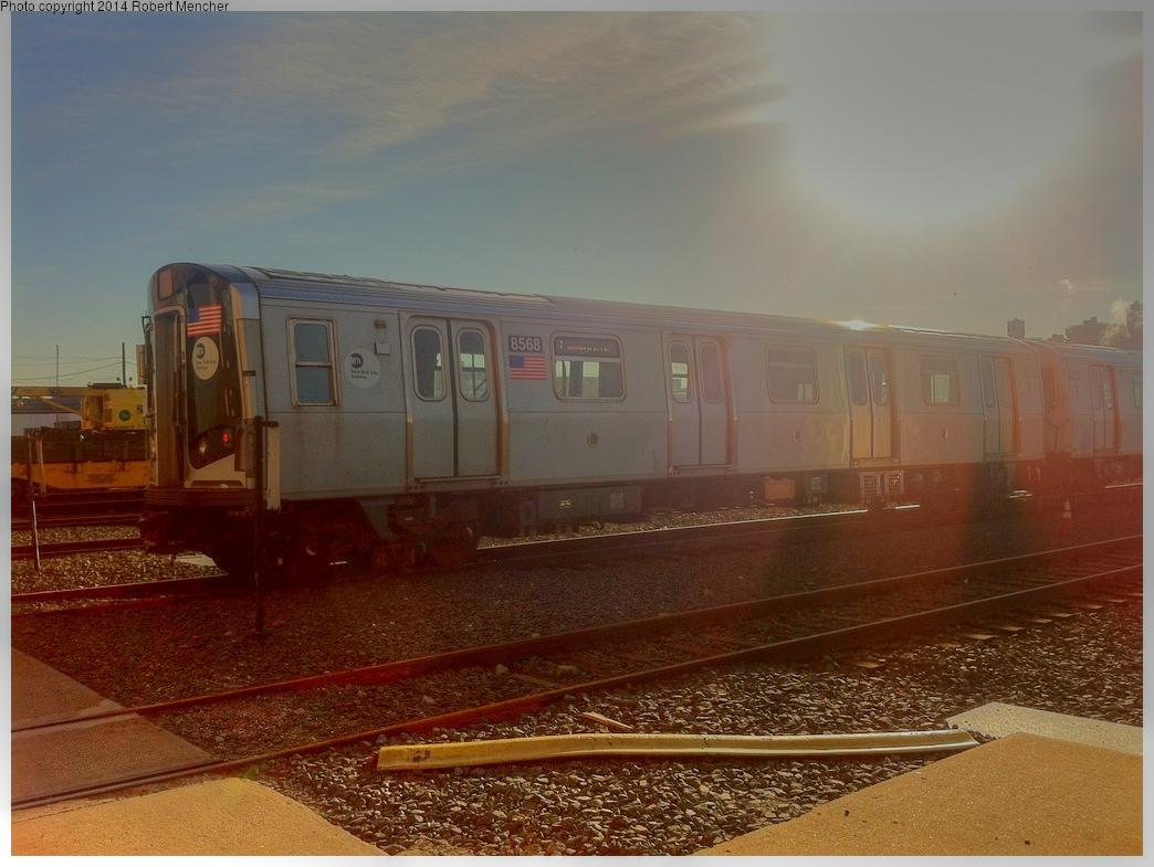 (510k, 1044x785)<br><b>Country:</b> United States<br><b>City:</b> New York<br><b>System:</b> New York City Transit<br><b>Location:</b> Coney Island Yard<br><b>Car:</b> R-160A-1 (Alstom, 2005-2008, 4 car sets)  8568 <br><b>Photo by:</b> Robert Mencher<br><b>Date:</b> 1/8/2014<br><b>Viewed (this week/total):</b> 0 / 606