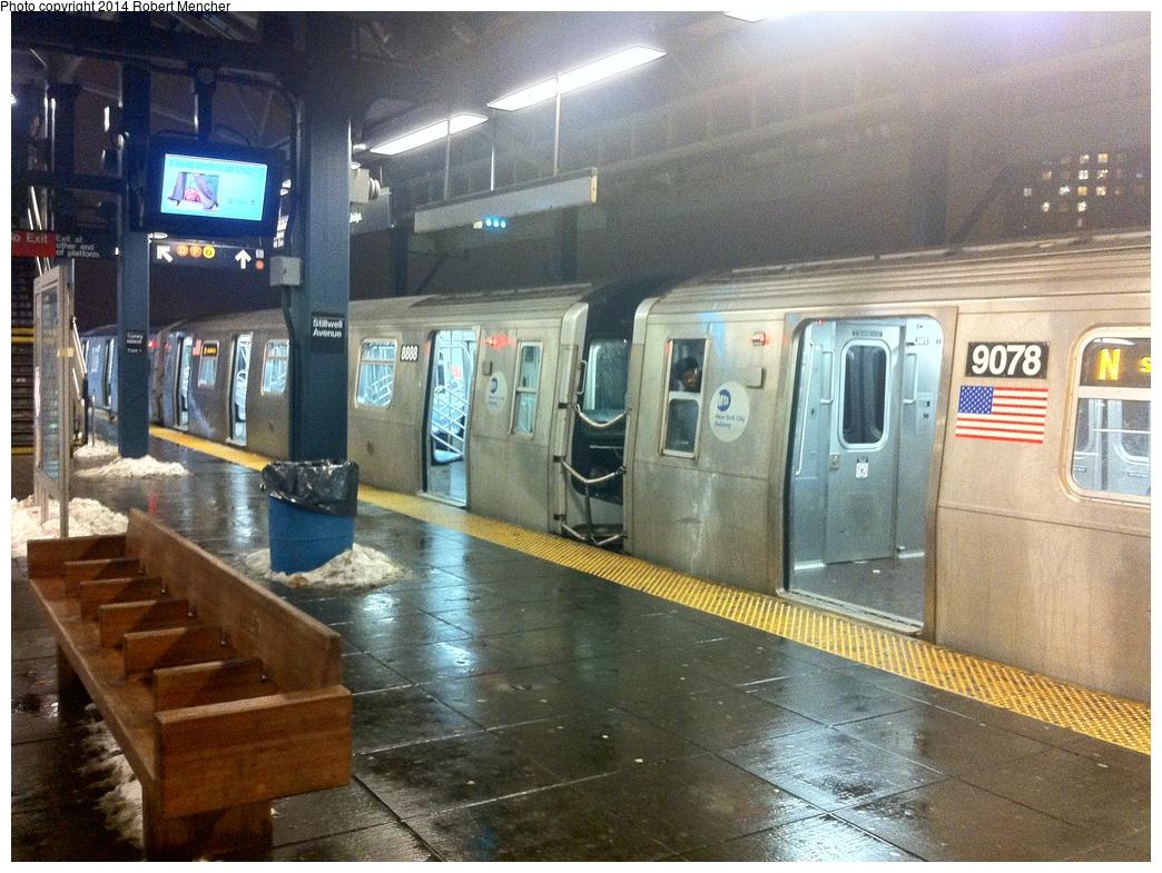 (391k, 1044x785)<br><b>Country:</b> United States<br><b>City:</b> New York<br><b>System:</b> New York City Transit<br><b>Location:</b> Coney Island/Stillwell Avenue<br><b>Route:</b> N<br><b>Car:</b> R-160B (Option 1) (Kawasaki, 2008-2009)  9087 <br><b>Photo by:</b> Robert Mencher<br><b>Date:</b> 1/5/2014<br><b>Viewed (this week/total):</b> 2 / 1085