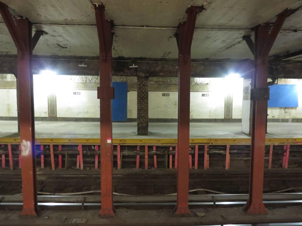 (92k, 1024x768)<br><b>Country:</b> United States<br><b>City:</b> New York<br><b>System:</b> New York City Transit<br><b>Line:</b> IRT West Side Line<br><b>Location:</b> 168th Street <br><b>Photo by:</b> Robbie Rosenfeld<br><b>Date:</b> 11/6/2013<br><b>Notes:</b> Station renovations in progress.<br><b>Viewed (this week/total):</b> 0 / 1559