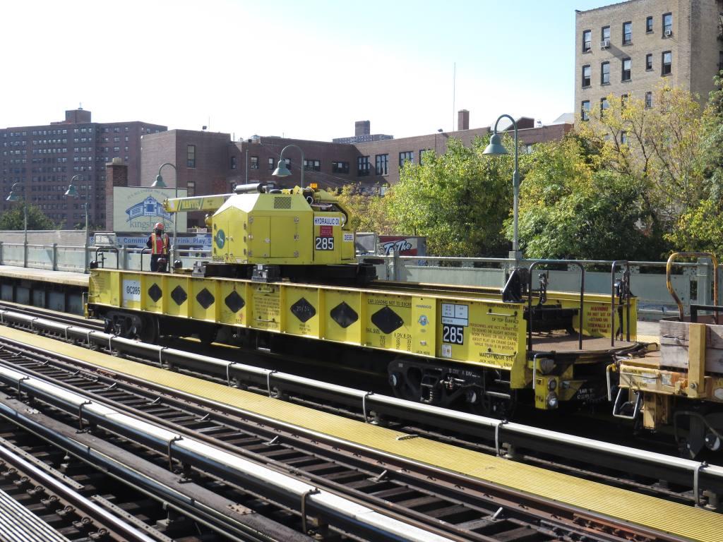 (167k, 1024x768)<br><b>Country:</b> United States<br><b>City:</b> New York<br><b>System:</b> New York City Transit<br><b>Line:</b> IRT West Side Line<br><b>Location:</b> 231st Street <br><b>Route:</b> Work Service<br><b>Car:</b> R-162 Crane Car  285 <br><b>Photo by:</b> Robbie Rosenfeld<br><b>Date:</b> 10/24/2013<br><b>Viewed (this week/total):</b> 4 / 699