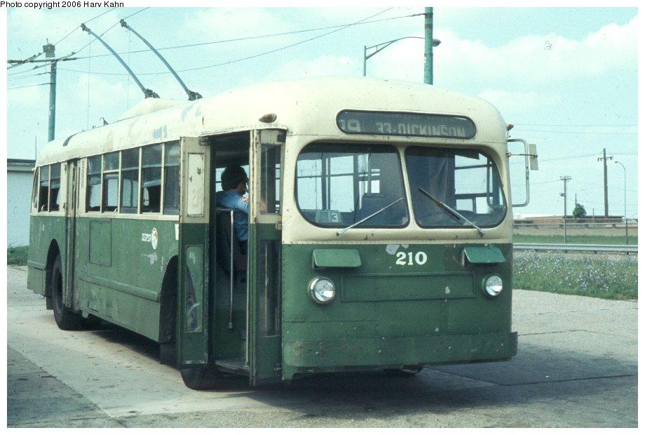 (103k, 920x620)<br><b>Country:</b> United States<br><b>City:</b> Philadelphia, PA<br><b>System:</b> SEPTA (or Predecessor)<br><b>Line:</b> SEPTA Trackless Trolley Routes<br><b>Car:</b> PTC/SEPTA ACF-Brill TC-44 Trackless (1947) 210 <br><b>Photo by:</b> Harv Kahn<br><b>Date:</b> 7/7/1976<br><b>Viewed (this week/total):</b> 0 / 983
