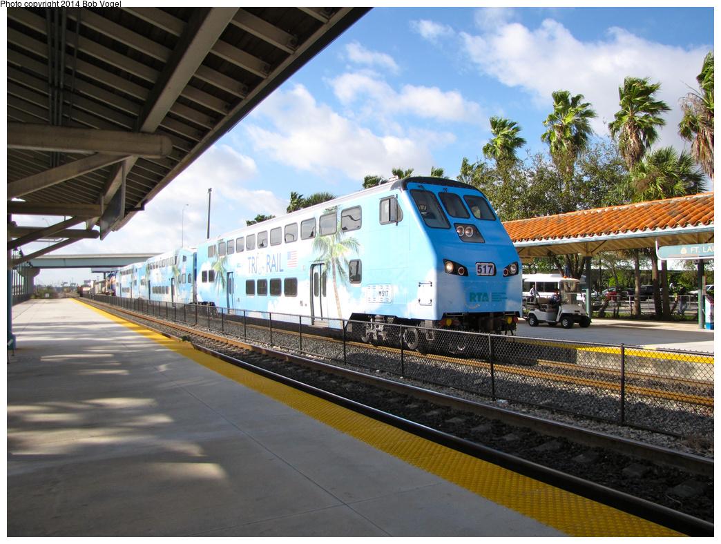 (422k, 1044x788)<br><b>Country:</b> United States<br><b>City:</b> Miami, FL<br><b>System:</b> Miami Tri-Rail<br><b>Location:</b> Fort Lauderdale (Amtrak) <br><b>Car:</b>  517 <br><b>Photo by:</b> Bob Vogel<br><b>Date:</b> 2/19/2013<br><b>Viewed (this week/total):</b> 2 / 939