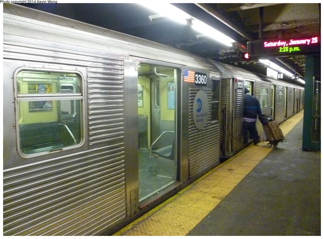 (371k, 1044x772)<br><b>Country:</b> United States<br><b>City:</b> New York<br><b>System:</b> New York City Transit<br><b>Line:</b> IND 8th Avenue Line<br><b>Location:</b> 168th Street <br><b>Route:</b> C<br><b>Car:</b> R-32 (Budd, 1964)  3360 <br><b>Photo by:</b> Kevin Wong<br><b>Date:</b> 1/25/2014<br><b>Viewed (this week/total):</b> 0 / 1116