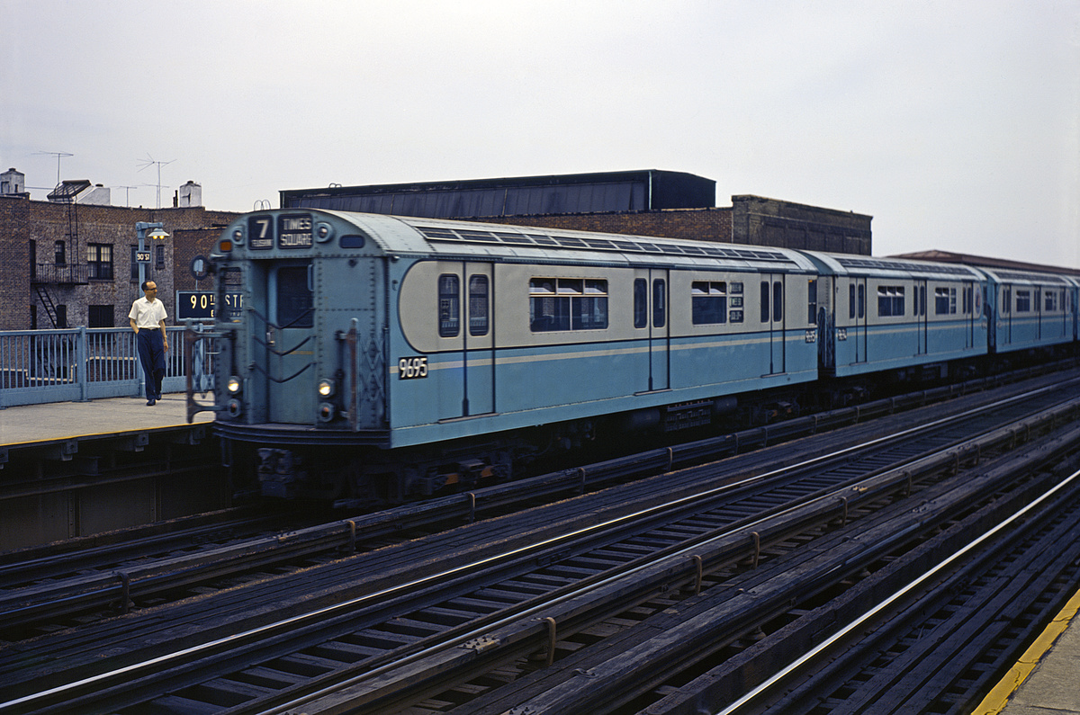 (341k, 1044x702)<br><b>Country:</b> United States<br><b>City:</b> New York<br><b>System:</b> New York City Transit<br><b>Line:</b> IRT Flushing Line<br><b>Location:</b> 90th Street/Elmhurst Avenue <br><b>Route:</b> 7<br><b>Car:</b> R-36 World's Fair (St. Louis, 1963-64) 9695 <br><b>Collection of:</b> David Pirmann<br><b>Viewed (this week/total):</b> 3 / 1588