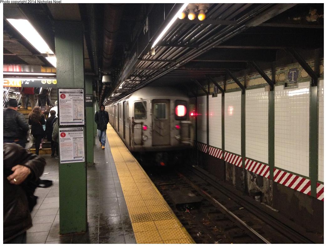 (302k, 1044x788)<br><b>Country:</b> United States<br><b>City:</b> New York<br><b>System:</b> New York City Transit<br><b>Line:</b> IRT West Side Line<br><b>Location:</b> Times Square/42nd Street <br><b>Route:</b> 1<br><b>Car:</b> R-62A (Bombardier, 1984-1987)   <br><b>Photo by:</b> Nicholas Noel<br><b>Date:</b> 1/10/2014<br><b>Viewed (this week/total):</b> 0 / 1342