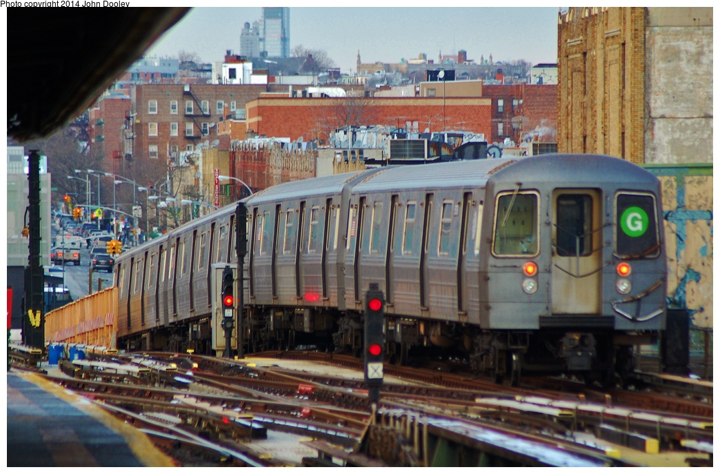 (344k, 1044x687)<br><b>Country:</b> United States<br><b>City:</b> New York<br><b>System:</b> New York City Transit<br><b>Line:</b> BMT Culver Line<br><b>Location:</b> Ditmas Avenue <br><b>Route:</b> G<br><b>Car:</b> R-68/R-68A Series (Number Unknown)  <br><b>Photo by:</b> John Dooley<br><b>Date:</b> 1/26/2014<br><b>Viewed (this week/total):</b> 0 / 1202