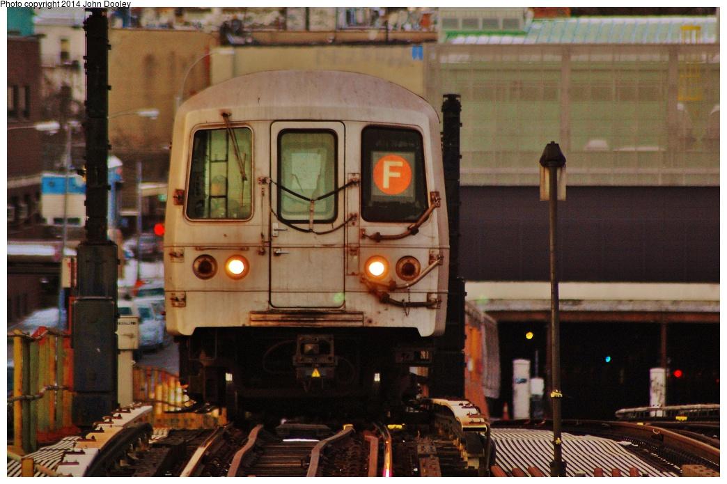 (334k, 1044x695)<br><b>Country:</b> United States<br><b>City:</b> New York<br><b>System:</b> New York City Transit<br><b>Line:</b> BMT Culver Line<br><b>Location:</b> Ditmas Avenue <br><b>Route:</b> F<br><b>Car:</b> R-46 (Pullman-Standard, 1974-75)  <br><b>Photo by:</b> John Dooley<br><b>Date:</b> 1/26/2014<br><b>Viewed (this week/total):</b> 6 / 1147