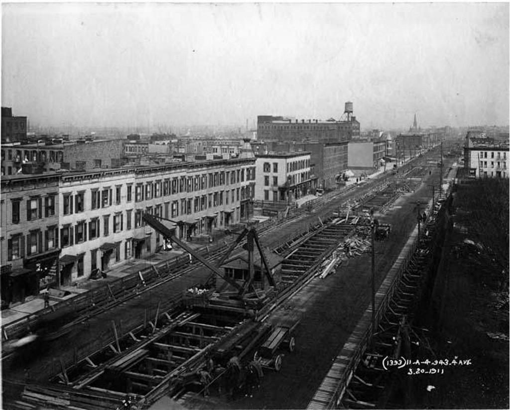 (179k, 1024x824)<br><b>Country:</b> United States<br><b>City:</b> New York<br><b>System:</b> New York City Transit<br><b>Line:</b> BMT 4th Avenue<br><b>Location:</b> BMT 4th Ave Construction <br><b>Collection of:</b> Frank Pfuhler<br><b>Date:</b> 3/10/1911<br><b>Notes:</b> 34-36th Sts.<br><b>Viewed (this week/total):</b> 2 / 1162