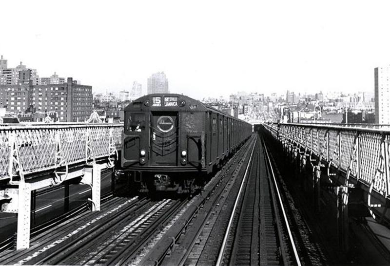 (143k, 800x546)<br><b>Country:</b> United States<br><b>City:</b> New York<br><b>System:</b> New York City Transit<br><b>Line:</b> BMT Nassau Street/Jamaica Line<br><b>Location:</b> Williamsburg Bridge<br><b>Car:</b> R-16 (American Car & Foundry, 1955)  <br><b>Collection of:</b> Frank Pfuhler<br><b>Viewed (this week/total):</b> 1 / 574