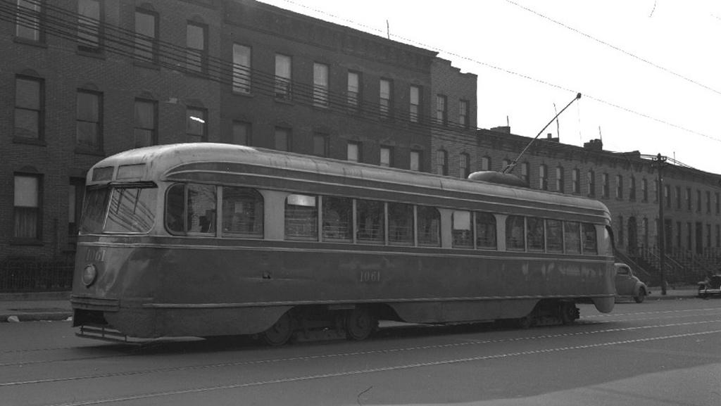 (135k, 1024x577)<br><b>Country:</b> United States<br><b>City:</b> New York<br><b>System:</b> Brooklyn & Queens Transit<br><b>Car:</b> Brooklyn & Queens Transit PCC (St. Louis Car, 1936)  1061 <br><b>Collection of:</b> Frank Pfuhler<br><b>Viewed (this week/total):</b> 2 / 374