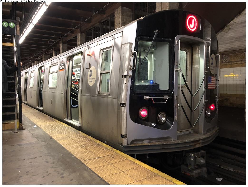 (287k, 1044x788)<br><b>Country:</b> United States<br><b>City:</b> New York<br><b>System:</b> New York City Transit<br><b>Line:</b> BMT Nassau Street/Jamaica Line<br><b>Location:</b> Chambers Street <br><b>Route:</b> J<br><b>Car:</b> R-143 (Kawasaki, 2001-2002) 8277 <br><b>Photo by:</b> Max Diamond<br><b>Date:</b> 12/12/2017<br><b>Viewed (this week/total):</b> 6 / 818
