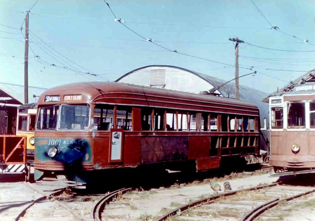 (222k, 1024x719)<br><b>Country:</b> United States<br><b>City:</b> East Haven/Branford, Ct.<br><b>System:</b> Shore Line Trolley Museum <br><b>Car:</b> Brooklyn & Queens Transit PCC (St. Louis Car, 1936)  1001 <br><b>Collection of:</b> Frank Pfuhler<br><b>Date:</b> 10/11/1958<br><b>Viewed (this week/total):</b> 3 / 854