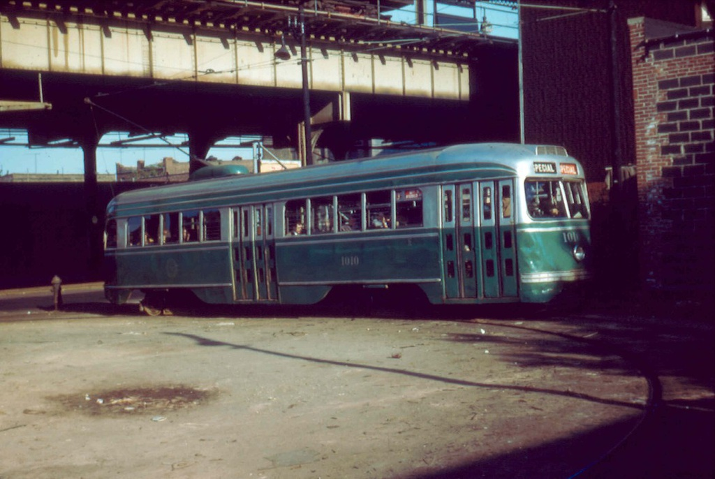 (206k, 1024x686)<br><b>Country:</b> United States<br><b>City:</b> New York<br><b>System:</b> Brooklyn & Queens Transit<br><b>Line:</b> 35/Church <br><b>Location:</b> McDonald/16th Loop <br><b>Car:</b> Brooklyn & Queens Transit PCC (St. Louis Car, 1936)  1010 <br><b>Collection of:</b> Frank Pfuhler<br><b>Date:</b> 5/15/1955<br><b>Viewed (this week/total):</b> 2 / 752