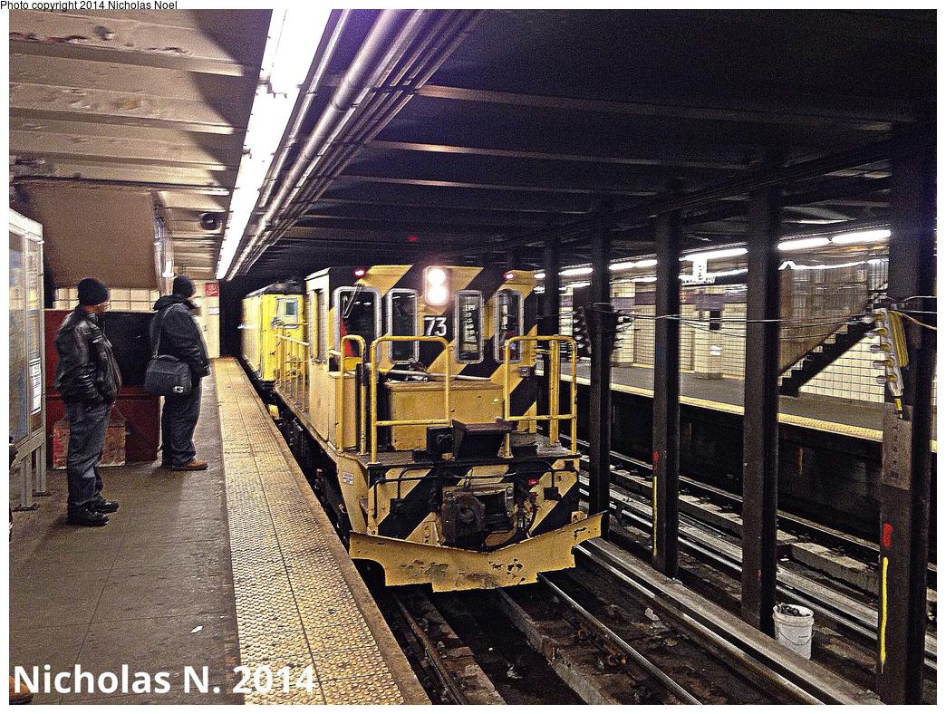 (517k, 1044x788)<br><b>Country:</b> United States<br><b>City:</b> New York<br><b>System:</b> New York City Transit<br><b>Line:</b> IND Fulton Street Line<br><b>Location:</b> Euclid Avenue <br><b>Route:</b> Work Service<br><b>Car:</b> R-52 Locomotive  73 <br><b>Photo by:</b> Nicholas Noel<br><b>Date:</b> 2/14/2014<br><b>Viewed (this week/total):</b> 0 / 1074