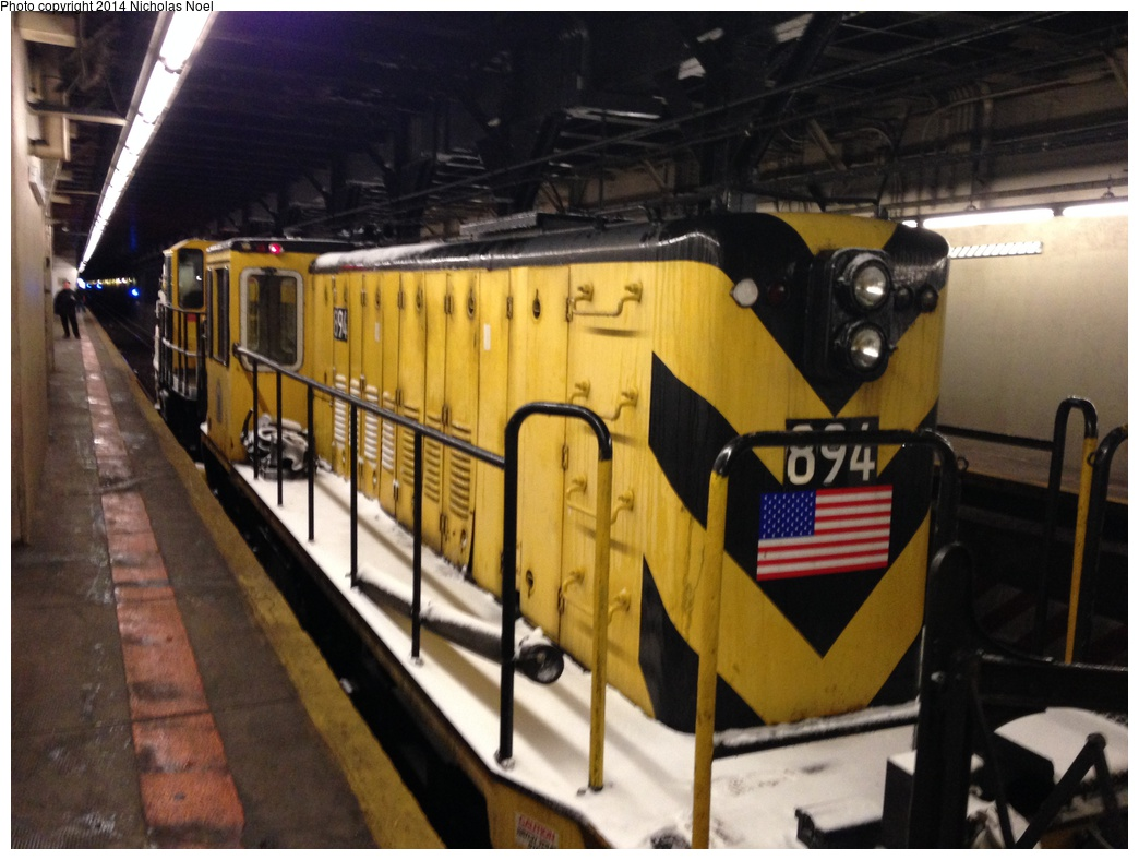 (278k, 1044x788)<br><b>Country:</b> United States<br><b>City:</b> New York<br><b>System:</b> New York City Transit<br><b>Line:</b> IRT Dyre Ave. Line<br><b>Location:</b> Pelham Parkway <br><b>Route:</b> Work Service<br><b>Car:</b> R-77 Locomotive  894 <br><b>Photo by:</b> Nicholas Noel<br><b>Date:</b> 2/13/2014<br><b>Viewed (this week/total):</b> 1 / 1009