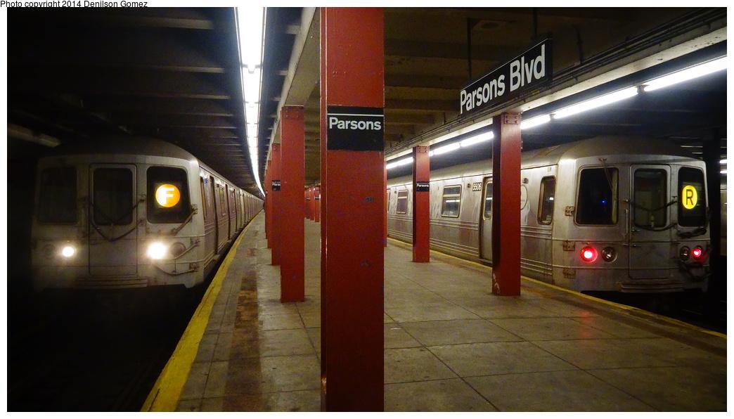 (267k, 1044x596)<br><b>Country:</b> United States<br><b>City:</b> New York<br><b>System:</b> New York City Transit<br><b>Line:</b> IND Queens Boulevard Line<br><b>Location:</b> Parsons Boulevard <br><b>Route:</b> R layup<br><b>Car:</b> R-46 (Pullman-Standard, 1974-75) 5506 <br><b>Photo by:</b> Denilson Gomez<br><b>Date:</b> 2/7/2014<br><b>Notes:</b> With R-46 F train<br><b>Viewed (this week/total):</b> 1 / 1915