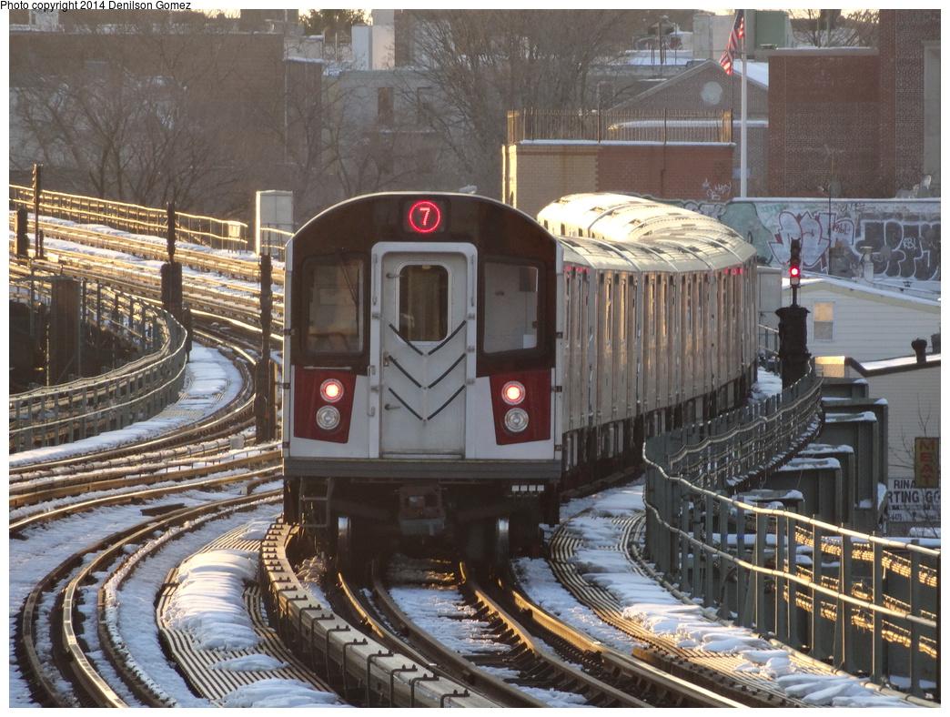 (438k, 1044x788)<br><b>Country:</b> United States<br><b>City:</b> New York<br><b>System:</b> New York City Transit<br><b>Line:</b> IRT Flushing Line<br><b>Location:</b> 61st Street/Woodside <br><b>Route:</b> 7<br><b>Car:</b> R-188 (Kawasaki, 2012-)  <br><b>Photo by:</b> Denilson Gomez<br><b>Date:</b> 2/10/2014<br><b>Viewed (this week/total):</b> 1 / 2141