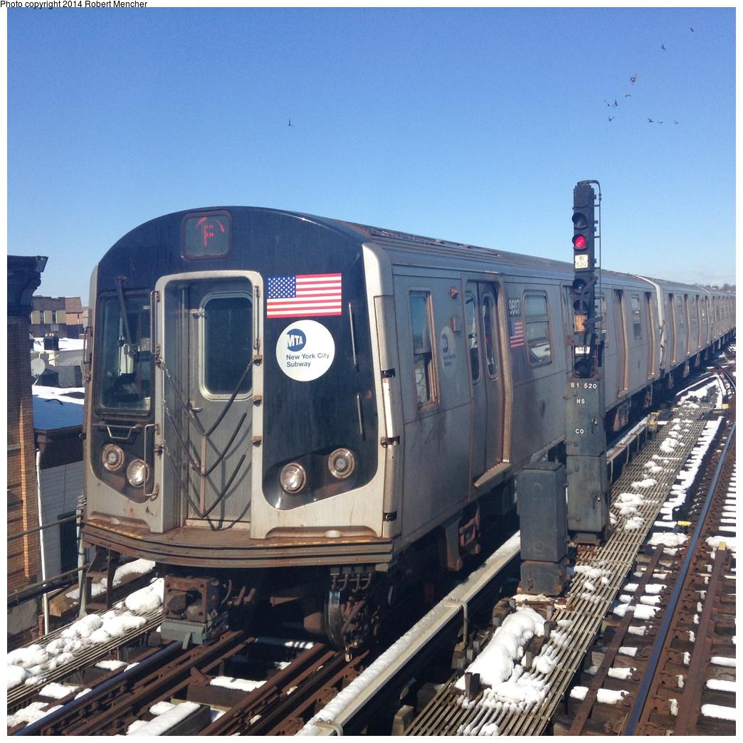 (408k, 1044x1044)<br><b>Country:</b> United States<br><b>City:</b> New York<br><b>System:</b> New York City Transit<br><b>Line:</b> BMT Culver Line<br><b>Location:</b> Ditmas Avenue <br><b>Route:</b> F<br><b>Car:</b> R-160A (Option 2) (Alstom, 2009, 5-car sets)  9607 <br><b>Photo by:</b> Robert Mencher<br><b>Date:</b> 2/14/2014<br><b>Viewed (this week/total):</b> 0 / 1239