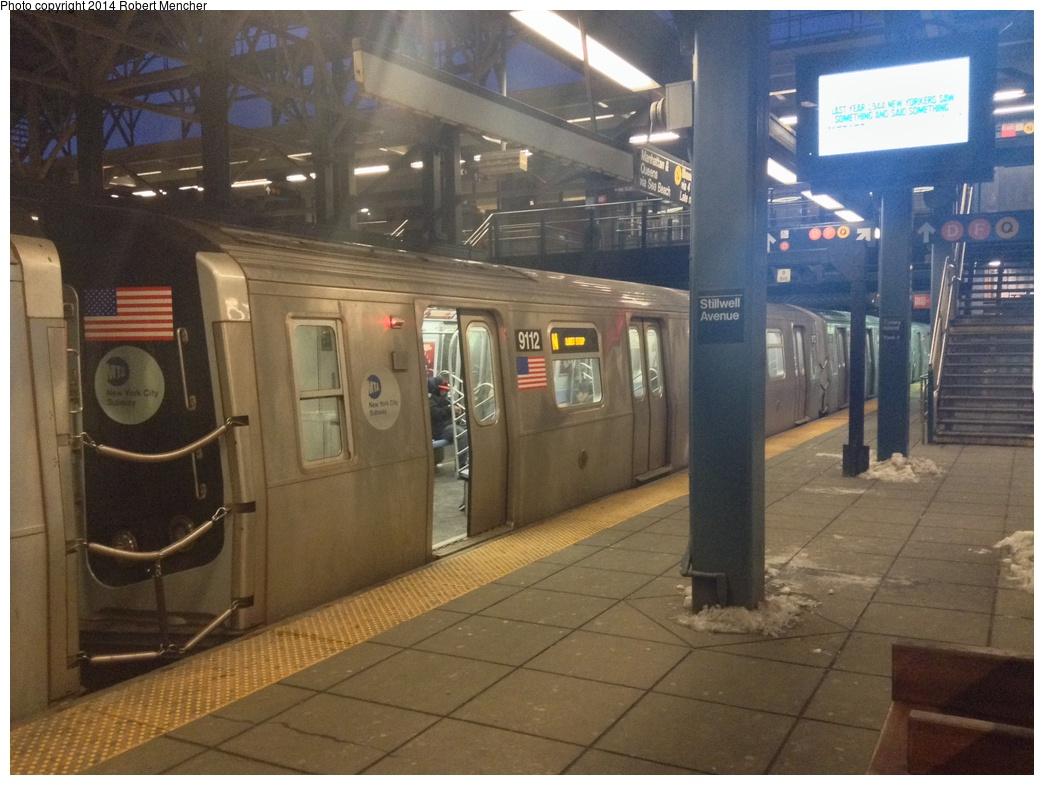 (289k, 1044x785)<br><b>Country:</b> United States<br><b>City:</b> New York<br><b>System:</b> New York City Transit<br><b>Location:</b> Coney Island/Stillwell Avenue<br><b>Route:</b> N<br><b>Car:</b> R-160B (Option 1) (Kawasaki, 2008-2009)  9112 <br><b>Photo by:</b> Robert Mencher<br><b>Date:</b> 2/16/2014<br><b>Viewed (this week/total):</b> 2 / 1250