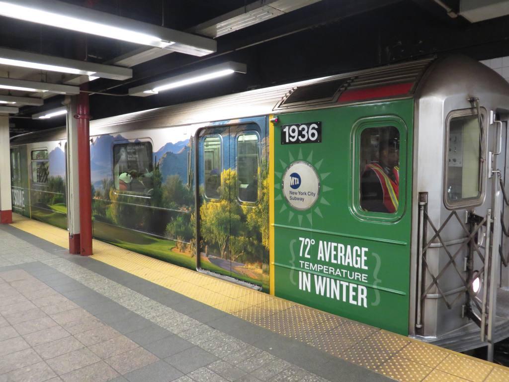 (123k, 1024x768)<br><b>Country:</b> United States<br><b>City:</b> New York<br><b>System:</b> New York City Transit<br><b>Line:</b> IRT Times Square-Grand Central Shuttle<br><b>Location:</b> Grand Central <br><b>Route:</b> S<br><b>Car:</b> R-62A (Bombardier, 1984-1987)  1936 <br><b>Photo by:</b> Robbie Rosenfeld<br><b>Date:</b> 2/12/2014<br><b>Notes:</b> Scottsdale AZ wrap<br><b>Viewed (this week/total):</b> 2 / 1001