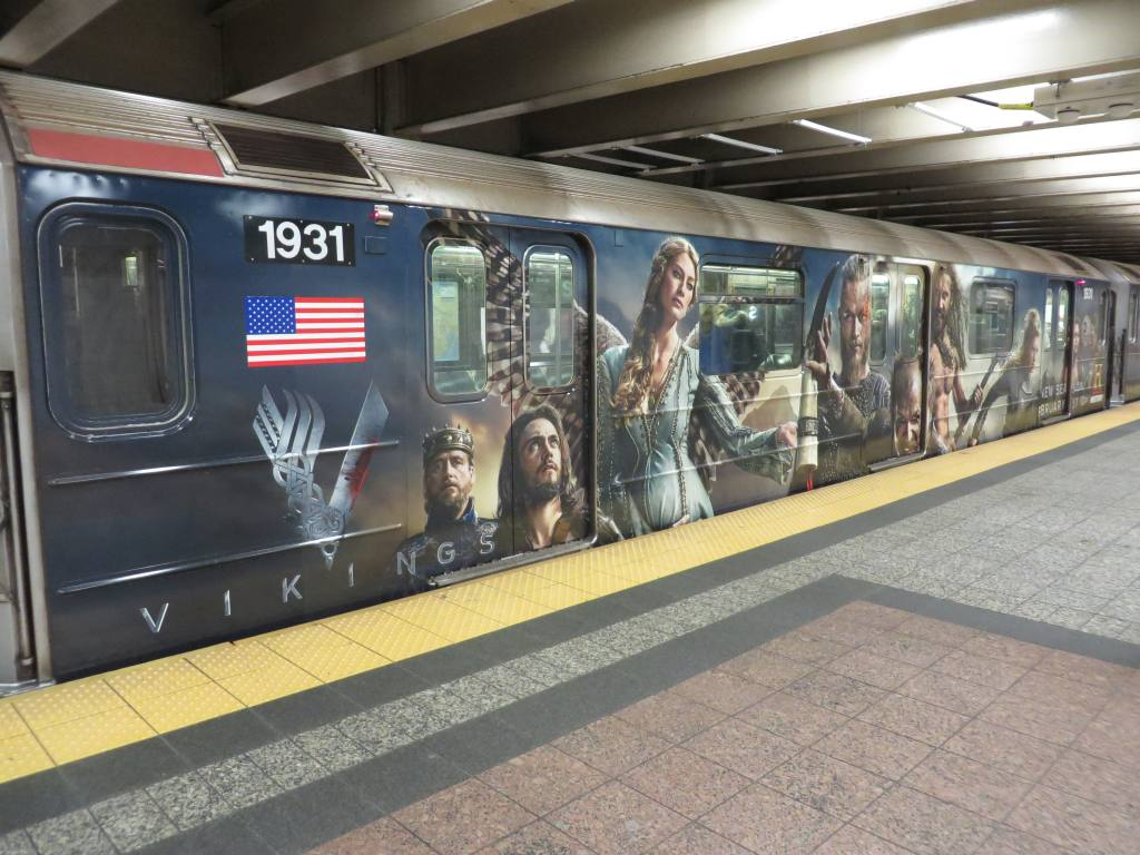 (132k, 1024x768)<br><b>Country:</b> United States<br><b>City:</b> New York<br><b>System:</b> New York City Transit<br><b>Line:</b> IRT Times Square-Grand Central Shuttle<br><b>Location:</b> Grand Central <br><b>Route:</b> S<br><b>Car:</b> R-62A (Bombardier, 1984-1987)  1931 <br><b>Photo by:</b> Robbie Rosenfeld<br><b>Date:</b> 2/19/2014<br><b>Notes:</b> Vikings tv show wrap<br><b>Viewed (this week/total):</b> 2 / 1032