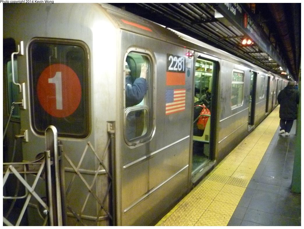 (356k, 1044x788)<br><b>Country:</b> United States<br><b>City:</b> New York<br><b>System:</b> New York City Transit<br><b>Line:</b> IRT West Side Line<br><b>Location:</b> Times Square/42nd Street <br><b>Route:</b> 1<br><b>Car:</b> R-62A (Bombardier, 1984-1987)  2281 <br><b>Photo by:</b> Kevin Wong<br><b>Date:</b> 2/19/2014<br><b>Viewed (this week/total):</b> 0 / 1384
