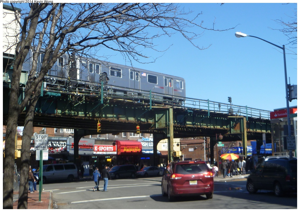 (349k, 1044x738)<br><b>Country:</b> United States<br><b>City:</b> New York<br><b>System:</b> New York City Transit<br><b>Line:</b> IRT Flushing Line<br><b>Location:</b> 82nd Street/Jackson Heights <br><b>Route:</b> 7<br><b>Car:</b> R-188 (Kawasaki, 2012-) 7843 <br><b>Photo by:</b> Kevin Wong<br><b>Date:</b> 2/22/2014<br><b>Viewed (this week/total):</b> 4 / 1497