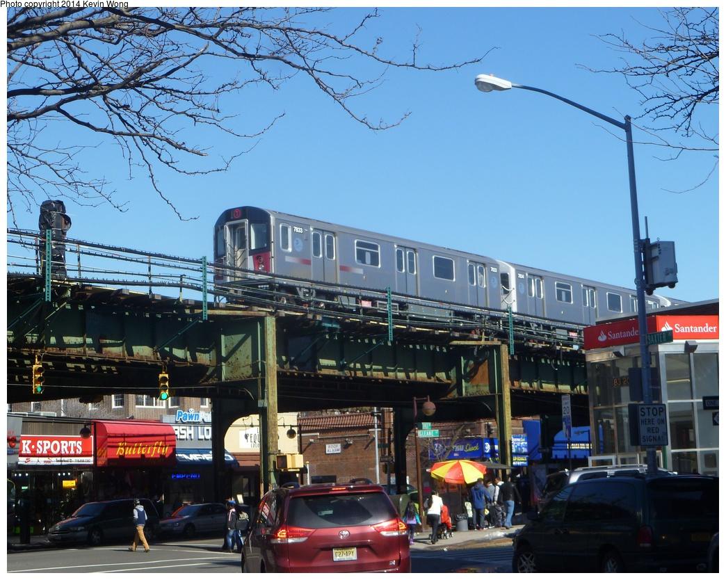 (385k, 1044x834)<br><b>Country:</b> United States<br><b>City:</b> New York<br><b>System:</b> New York City Transit<br><b>Line:</b> IRT Flushing Line<br><b>Location:</b> 82nd Street/Jackson Heights <br><b>Route:</b> 7<br><b>Car:</b> R-188 (Kawasaki, 2012-) 7833 <br><b>Photo by:</b> Kevin Wong<br><b>Date:</b> 2/22/2014<br><b>Viewed (this week/total):</b> 3 / 1708