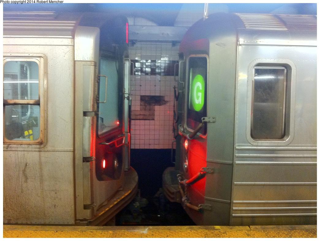 (315k, 1044x785)<br><b>Country:</b> United States<br><b>City:</b> New York<br><b>System:</b> New York City Transit<br><b>Line:</b> IND Crosstown Line<br><b>Location:</b> Church Avenue <br><b>Photo by:</b> Robert Mencher<br><b>Date:</b> 2/26/2014<br><b>Notes:</b> R-68 2854 nose to nose with R-160 9572<br><b>Viewed (this week/total):</b> 2 / 1521