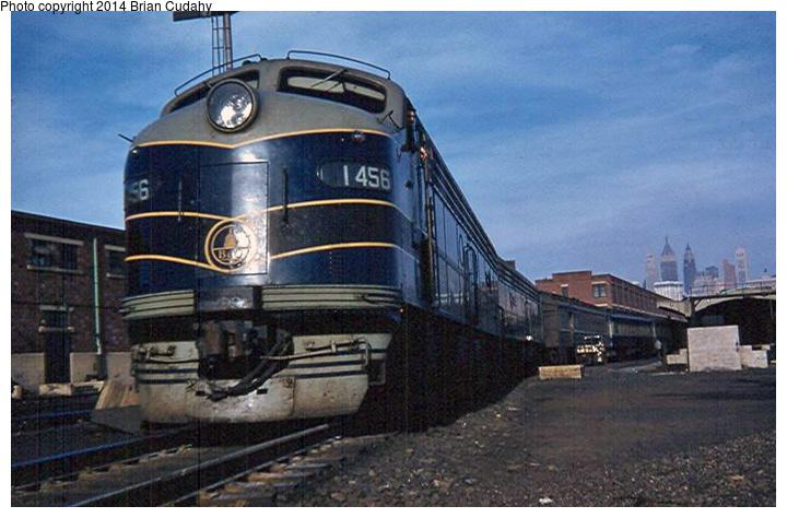 (173k, 720x474)<br><b>Country:</b> United States<br><b>System:</b> CRRNJ <br><b>Photo by:</b> Brian J. Cudahy<br><b>Notes:</b> B&O passenger train at CNJ Terminal, Jersey City ... 1958<br><b>Viewed (this week/total):</b> 1 / 2050