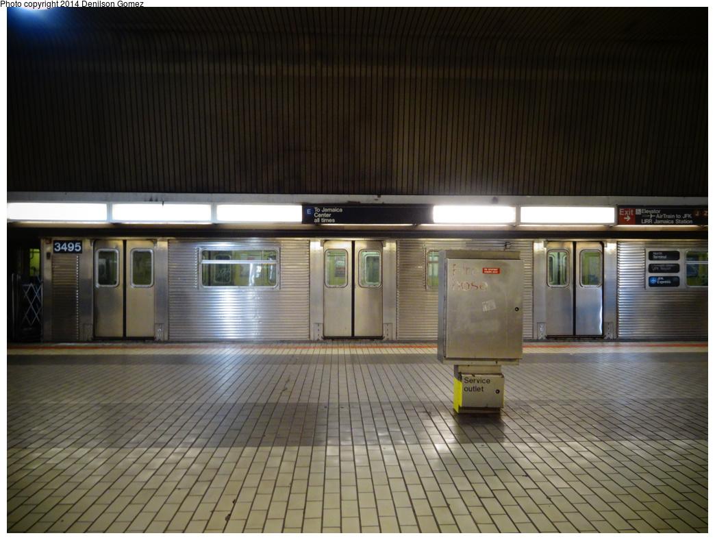 (331k, 1044x788)<br><b>Country:</b> United States<br><b>City:</b> New York<br><b>System:</b> New York City Transit<br><b>Line:</b> IND Queens Boulevard Line<br><b>Location:</b> Sutphin Blvd.-Archer Ave./JFK <br><b>Route:</b> Work Service<br><b>Car:</b> R-32 (Budd, 1964)  3695 <br><b>Photo by:</b> Denilson Gomez<br><b>Date:</b> 8/14/2013<br><b>Notes:</b> Garbage train service<br><b>Viewed (this week/total):</b> 0 / 1954
