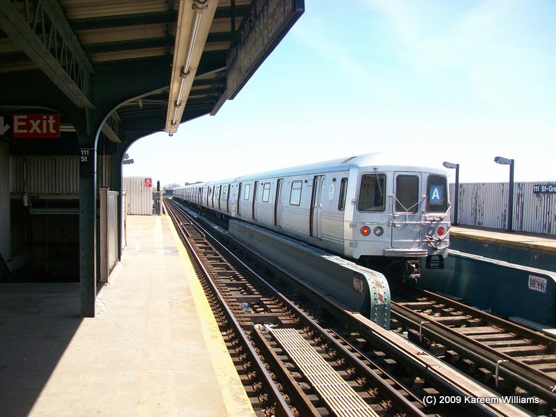 (111k, 800x600)<br><b>Country:</b> United States<br><b>City:</b> New York<br><b>System:</b> New York City Transit<br><b>Line:</b> IND Fulton Street Line<br><b>Location:</b> 111th Street/Greenwood Avenue <br><b>Route:</b> A<br><b>Car:</b> R-46 (Pullman-Standard, 1974-75) 6152 <br><b>Photo by:</b> Kareem Williams<br><b>Date:</b> 4/13/2009<br><b>Viewed (this week/total):</b> 0 / 823