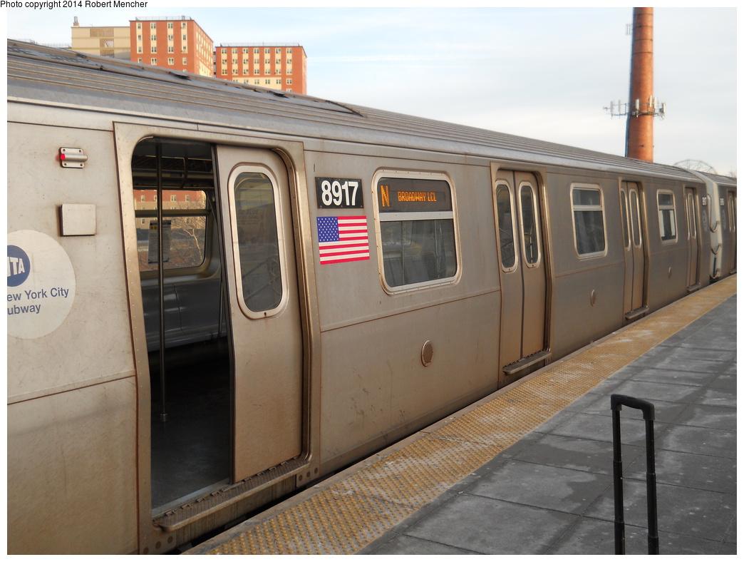 (339k, 1044x788)<br><b>Country:</b> United States<br><b>City:</b> New York<br><b>System:</b> New York City Transit<br><b>Location:</b> Coney Island/Stillwell Avenue<br><b>Route:</b> N<br><b>Car:</b> R-160B (Kawasaki, 2005-2008)  8917 <br><b>Photo by:</b> Robert Mencher<br><b>Date:</b> 3/9/2014<br><b>Viewed (this week/total):</b> 8 / 789