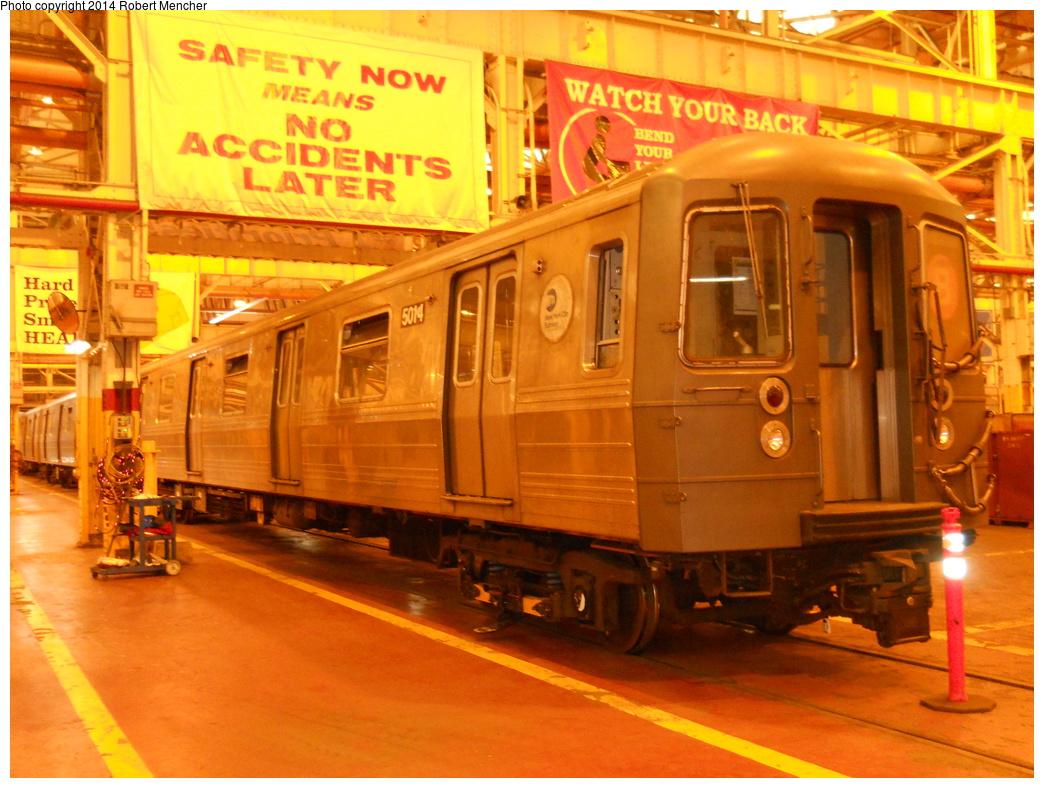 (409k, 1044x788)<br><b>Country:</b> United States<br><b>City:</b> New York<br><b>System:</b> New York City Transit<br><b>Location:</b> Coney Island Shop/Overhaul & Repair Shop<br><b>Car:</b> R-68A (Kawasaki, 1988-1989)  5014 <br><b>Photo by:</b> Robert Mencher<br><b>Date:</b> 3/12/2014<br><b>Viewed (this week/total):</b> 3 / 1158