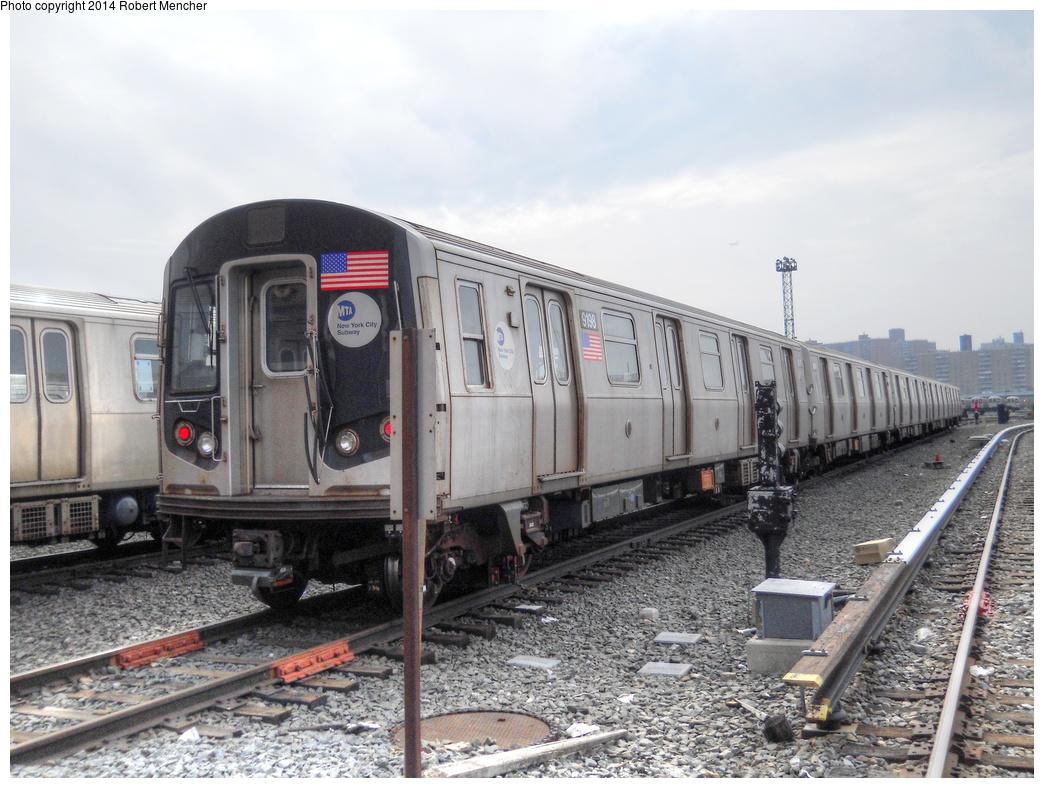 (304k, 1044x788)<br><b>Country:</b> United States<br><b>City:</b> New York<br><b>System:</b> New York City Transit<br><b>Location:</b> Coney Island Yard<br><b>Car:</b> R-160B (Option 1) (Kawasaki, 2008-2009)  9198 <br><b>Photo by:</b> Robert Mencher<br><b>Date:</b> 3/12/2014<br><b>Viewed (this week/total):</b> 0 / 734