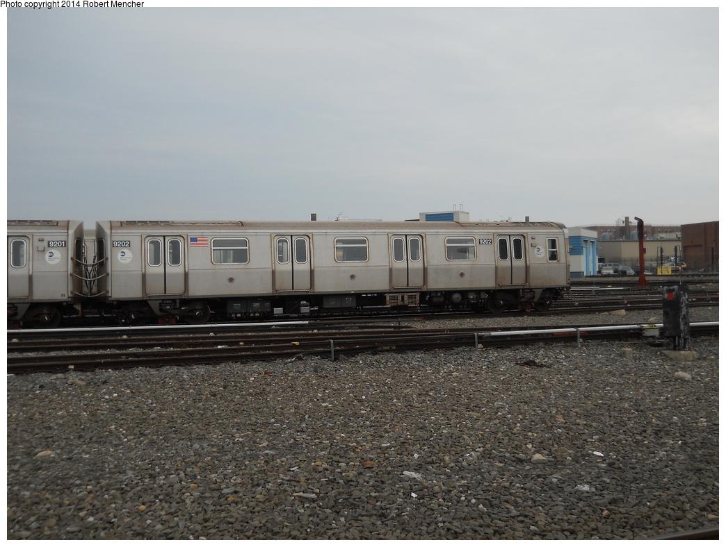 (353k, 1044x788)<br><b>Country:</b> United States<br><b>City:</b> New York<br><b>System:</b> New York City Transit<br><b>Location:</b> Coney Island Yard<br><b>Car:</b> R-160B (Option 1) (Kawasaki, 2008-2009)  9202 <br><b>Photo by:</b> Robert Mencher<br><b>Date:</b> 3/12/2014<br><b>Viewed (this week/total):</b> 0 / 713