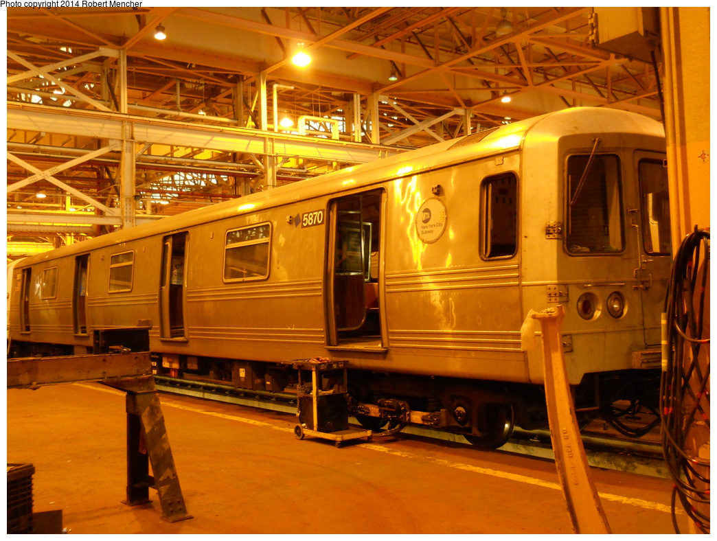 (432k, 1044x788)<br><b>Country:</b> United States<br><b>City:</b> New York<br><b>System:</b> New York City Transit<br><b>Location:</b> Coney Island Shop/Overhaul & Repair Shop<br><b>Car:</b> R-46 (Pullman-Standard, 1974-75) 5870 <br><b>Photo by:</b> Robert Mencher<br><b>Date:</b> 3/12/2014<br><b>Viewed (this week/total):</b> 0 / 965