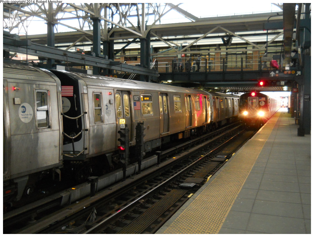 (404k, 1044x788)<br><b>Country:</b> United States<br><b>City:</b> New York<br><b>System:</b> New York City Transit<br><b>Location:</b> Coney Island/Stillwell Avenue<br><b>Route:</b> Q<br><b>Car:</b> R-160B (Option 1) (Kawasaki, 2008-2009)  9097 <br><b>Photo by:</b> Robert Mencher<br><b>Date:</b> 3/16/2014<br><b>Viewed (this week/total):</b> 0 / 1117