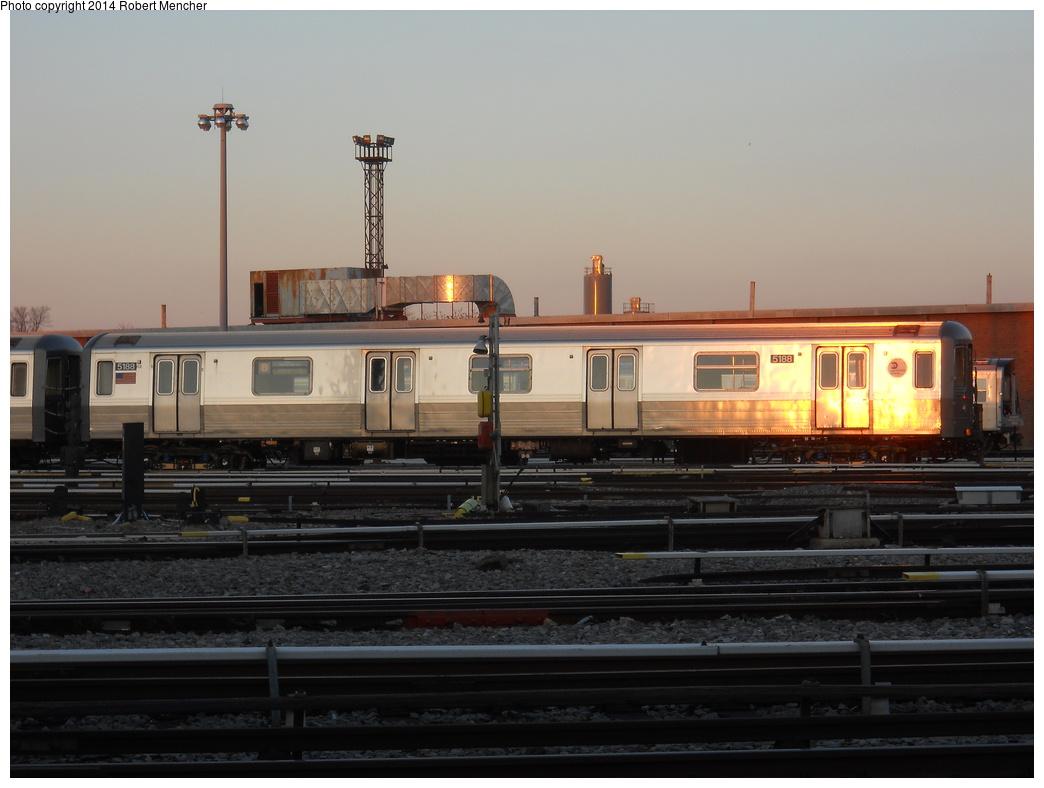 (288k, 1044x788)<br><b>Country:</b> United States<br><b>City:</b> New York<br><b>System:</b> New York City Transit<br><b>Location:</b> Coney Island Yard<br><b>Car:</b> R-68A (Kawasaki, 1988-1989)  5188 <br><b>Photo by:</b> Robert Mencher<br><b>Date:</b> 3/21/2014<br><b>Viewed (this week/total):</b> 0 / 798