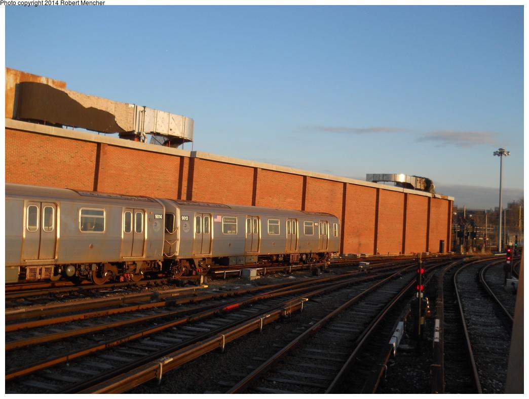 (333k, 1044x788)<br><b>Country:</b> United States<br><b>City:</b> New York<br><b>System:</b> New York City Transit<br><b>Location:</b> Coney Island Yard<br><b>Car:</b> R-160B (Option 1) (Kawasaki, 2008-2009)  9013 <br><b>Photo by:</b> Robert Mencher<br><b>Date:</b> 3/21/2014<br><b>Viewed (this week/total):</b> 0 / 696