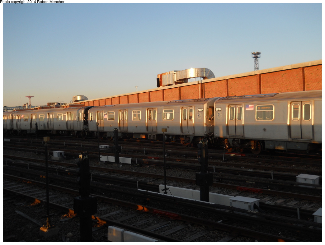 (283k, 1044x788)<br><b>Country:</b> United States<br><b>City:</b> New York<br><b>System:</b> New York City Transit<br><b>Location:</b> Coney Island Yard<br><b>Car:</b> R-160B (Option 1) (Kawasaki, 2008-2009)  9017 <br><b>Photo by:</b> Robert Mencher<br><b>Date:</b> 3/21/2014<br><b>Viewed (this week/total):</b> 0 / 625