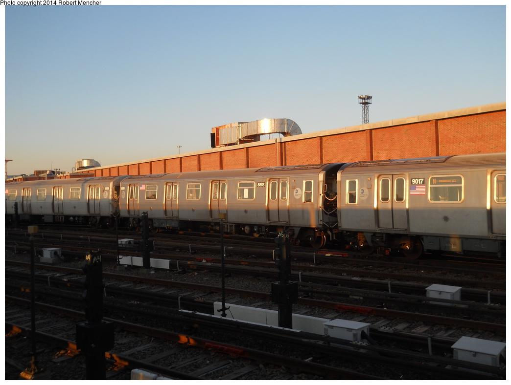(291k, 1044x788)<br><b>Country:</b> United States<br><b>City:</b> New York<br><b>System:</b> New York City Transit<br><b>Location:</b> Coney Island Yard<br><b>Car:</b> R-160B (Kawasaki, 2005-2008)  8888 <br><b>Photo by:</b> Robert Mencher<br><b>Date:</b> 3/21/2014<br><b>Viewed (this week/total):</b> 0 / 662