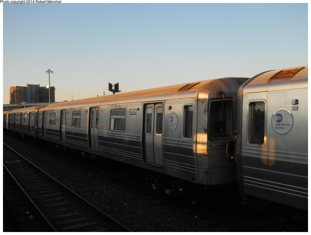 (249k, 1044x788)<br><b>Country:</b> United States<br><b>City:</b> New York<br><b>System:</b> New York City Transit<br><b>Location:</b> Coney Island Yard<br><b>Car:</b> R-68 (Westinghouse-Amrail, 1986-1988)  2608 <br><b>Photo by:</b> Robert Mencher<br><b>Date:</b> 3/21/2014<br><b>Viewed (this week/total):</b> 1 / 730