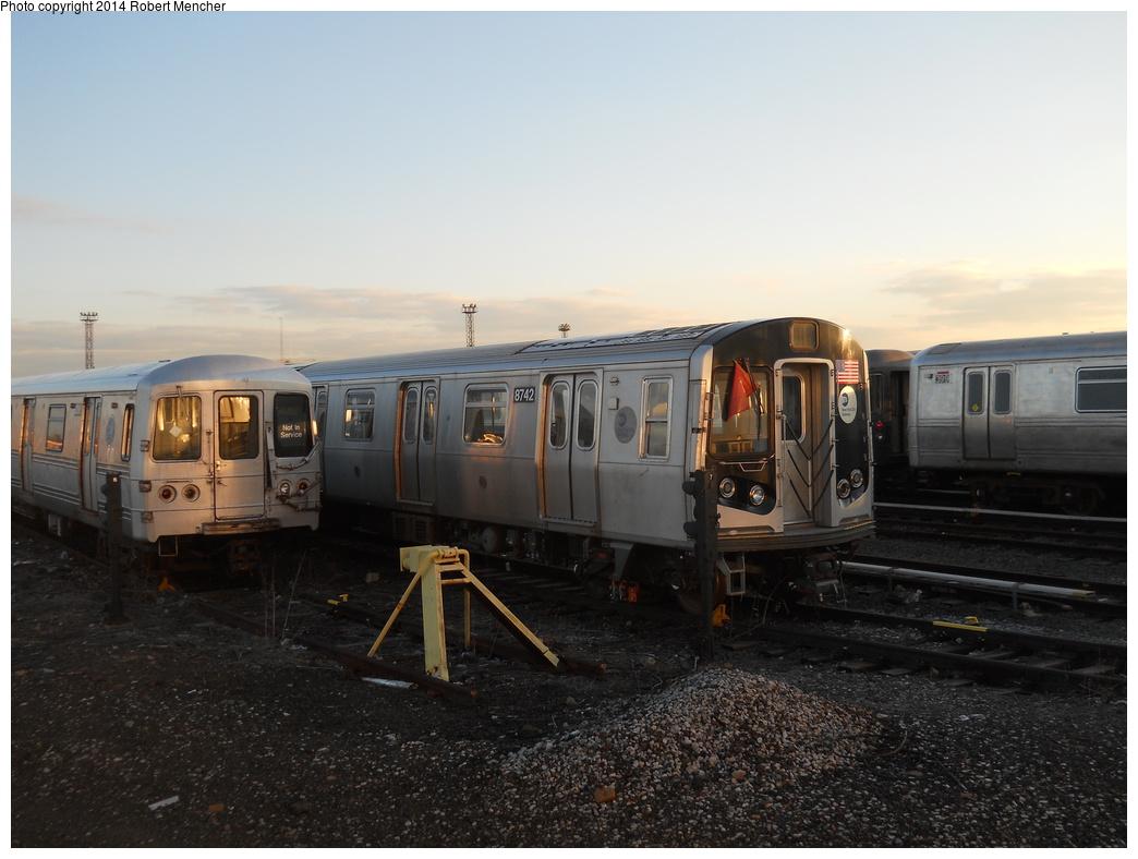 (315k, 1044x788)<br><b>Country:</b> United States<br><b>City:</b> New York<br><b>System:</b> New York City Transit<br><b>Location:</b> Coney Island Yard<br><b>Car:</b> R-160B (Kawasaki, 2005-2008)  8742 <br><b>Photo by:</b> Robert Mencher<br><b>Date:</b> 3/21/2014<br><b>Viewed (this week/total):</b> 0 / 860