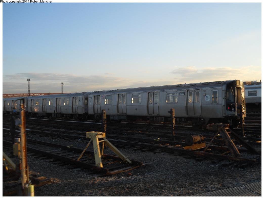 (269k, 1044x788)<br><b>Country:</b> United States<br><b>City:</b> New York<br><b>System:</b> New York City Transit<br><b>Location:</b> Coney Island Yard<br><b>Car:</b> R-160B (Kawasaki, 2005-2008)  8933 <br><b>Photo by:</b> Robert Mencher<br><b>Date:</b> 3/21/2014<br><b>Viewed (this week/total):</b> 2 / 699