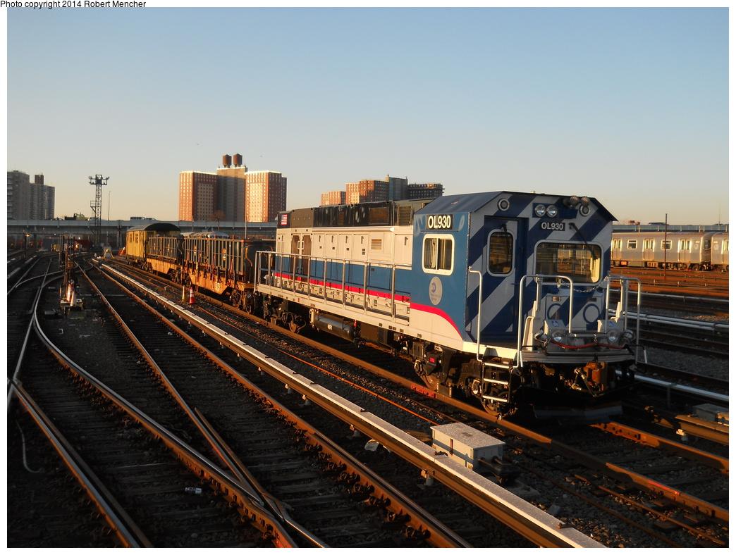 (384k, 1044x788)<br><b>Country:</b> United States<br><b>City:</b> New York<br><b>System:</b> New York City Transit<br><b>Location:</b> Coney Island Yard<br><b>Car:</b> R-156 Diesel-Electric Locomotive (MPI, 2012-2013) 930 <br><b>Photo by:</b> Robert Mencher<br><b>Date:</b> 3/21/2014<br><b>Viewed (this week/total):</b> 1 / 1231