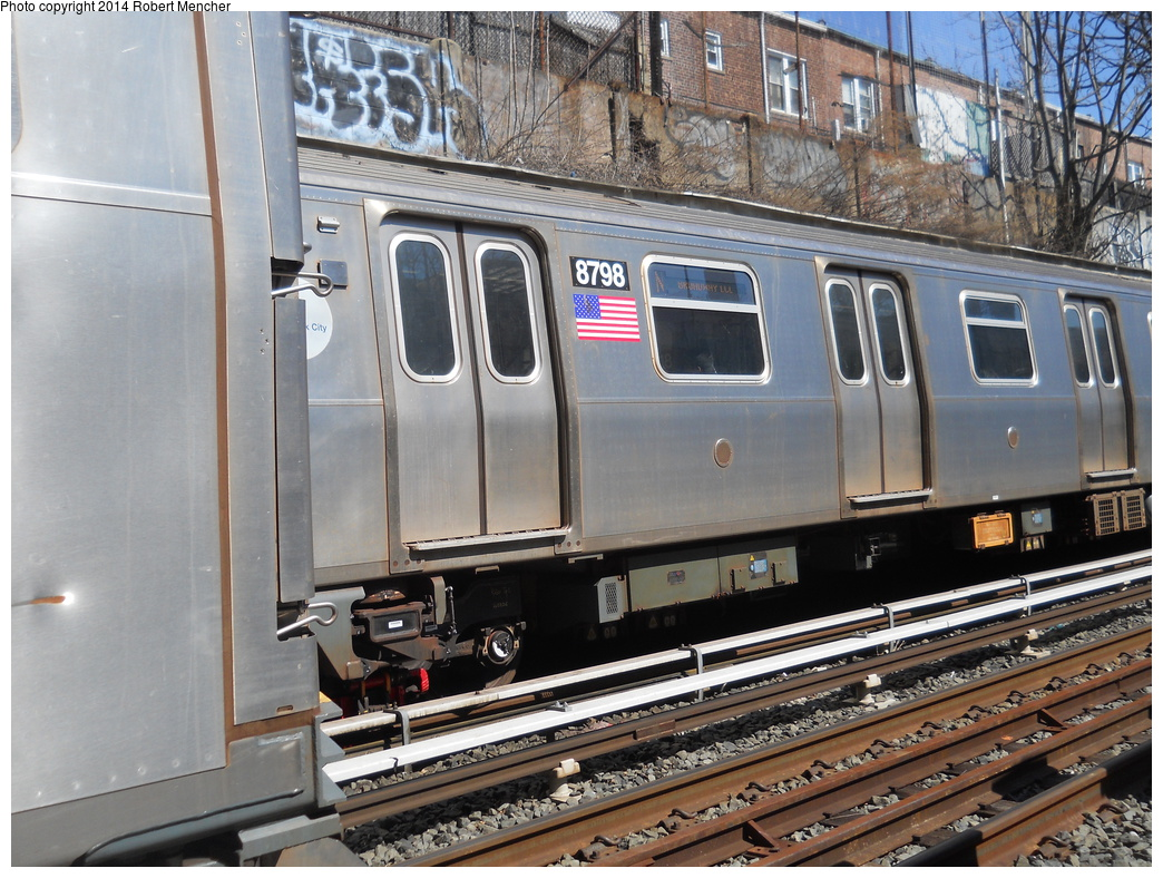 (429k, 1044x788)<br><b>Country:</b> United States<br><b>City:</b> New York<br><b>System:</b> New York City Transit<br><b>Line:</b> BMT Sea Beach Line<br><b>Location:</b> 18th Avenue <br><b>Route:</b> N<br><b>Car:</b> R-160B (Kawasaki, 2005-2008)  8798 <br><b>Photo by:</b> Robert Mencher<br><b>Date:</b> 3/21/2014<br><b>Viewed (this week/total):</b> 0 / 891