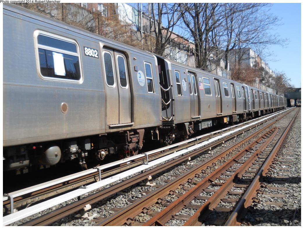 (489k, 1044x788)<br><b>Country:</b> United States<br><b>City:</b> New York<br><b>System:</b> New York City Transit<br><b>Line:</b> BMT Sea Beach Line<br><b>Location:</b> 18th Avenue <br><b>Route:</b> N<br><b>Car:</b> R-160B (Kawasaki, 2005-2008)  8802 <br><b>Photo by:</b> Robert Mencher<br><b>Date:</b> 3/21/2014<br><b>Viewed (this week/total):</b> 2 / 920