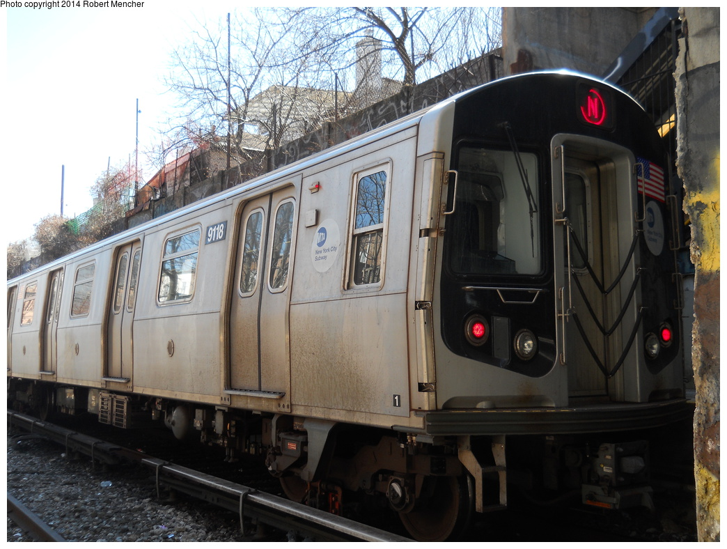 (383k, 1044x788)<br><b>Country:</b> United States<br><b>City:</b> New York<br><b>System:</b> New York City Transit<br><b>Line:</b> BMT Sea Beach Line<br><b>Location:</b> 18th Avenue <br><b>Route:</b> N<br><b>Car:</b> R-160B (Option 1) (Kawasaki, 2008-2009)  9118 <br><b>Photo by:</b> Robert Mencher<br><b>Date:</b> 3/21/2014<br><b>Viewed (this week/total):</b> 1 / 852