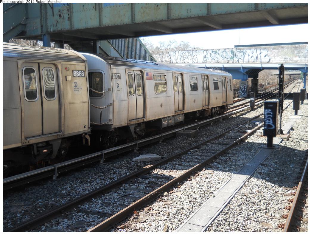 (462k, 1044x788)<br><b>Country:</b> United States<br><b>City:</b> New York<br><b>System:</b> New York City Transit<br><b>Line:</b> BMT Sea Beach Line<br><b>Location:</b> 18th Avenue <br><b>Route:</b> N<br><b>Car:</b> R-160B (Kawasaki, 2005-2008)  8867 <br><b>Photo by:</b> Robert Mencher<br><b>Date:</b> 3/21/2014<br><b>Viewed (this week/total):</b> 1 / 943